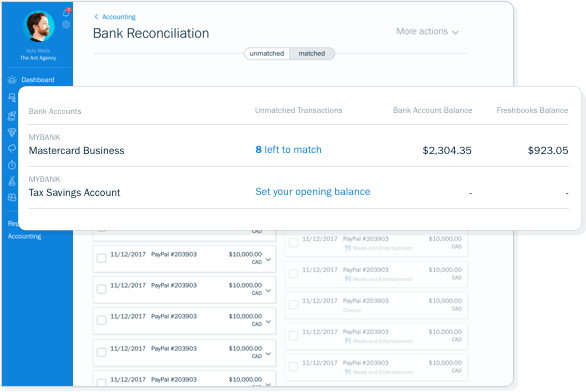Screenshot of bank reconcilliation and transactions record in FreshBooks accounting software