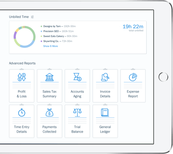 Screenshot of tax time reports in FreshBooks accounting software